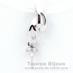 Rhodiated Sterling Silver + Rhodium Pendant for 1 Pearl from 9 to 12 mm
