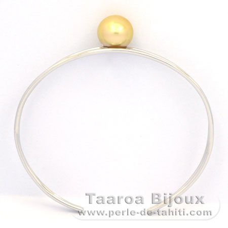 Rhodiated Sterling Silver Bracelet and 1 Australian Pearl Round B 10.6 mm