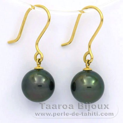 18K solid Gold Earrings and 2 Tahitian Pearls Round B 9.2 mm