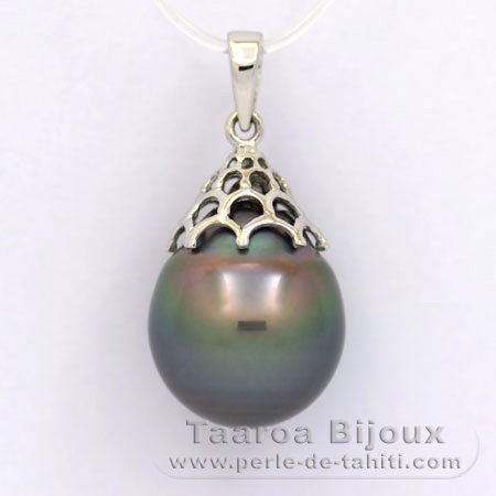 Rhodiated Sterling Silver Pendant and 1 Tahitian Pearl Semi-Baroque C 13.5 mm