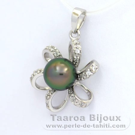 Rhodiated Sterling Silver Pendant and 1 Tahitian Pearl Semi-Baroque C 8.3 mm