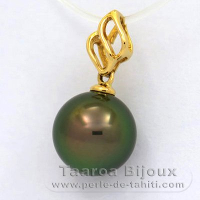 18K solid Gold Pendant and 1 Tahitian Pearl Round A 9.8 mm