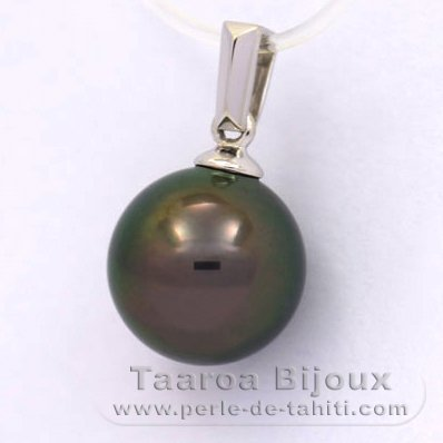 18K Solid White Gold Pendant and 1 Tahitian Pearl Round B 10.1 mm