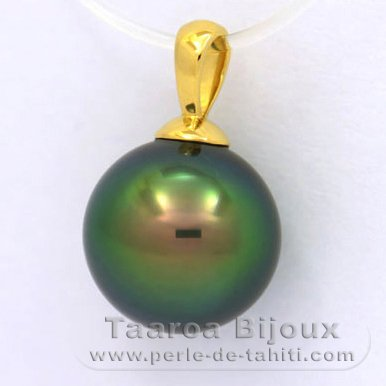 18K solid Gold Pendant and 1 Tahitian Pearl Round C+ 10.9 mm