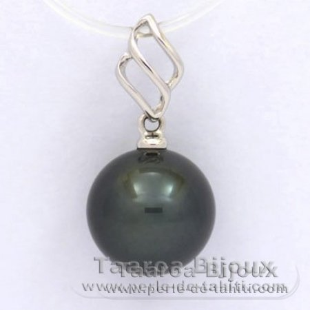 18K Solid White Gold Pendant and 1 Tahitian Pearl Round A 9.7 mm