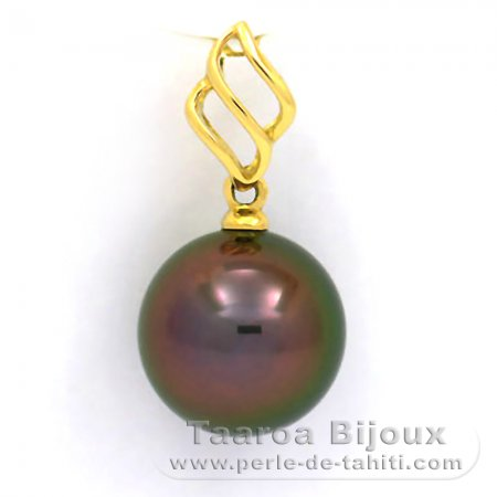 18K solid Gold Pendant and 1 Tahitian Pearl Round B+ 10 mm