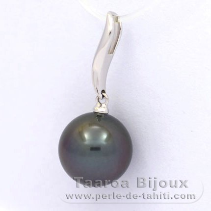 18K Solid White Gold Pendant and 1 Tahitian Pearl Round A 10.6 mm