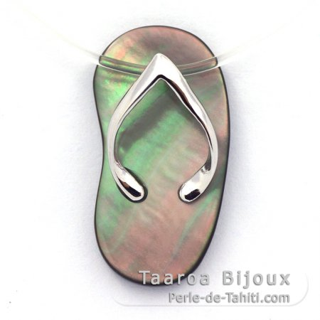 Mother-of-Pearl (Pinctada Margaritifera) and Rhodiated Sterling Silver sandal pendant