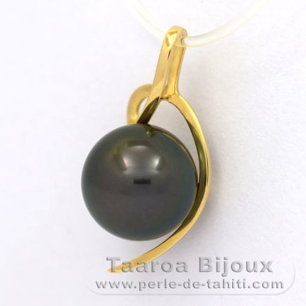 18K solid Gold Pendant and 1 Tahitian Pearl Round B 9.6 mm