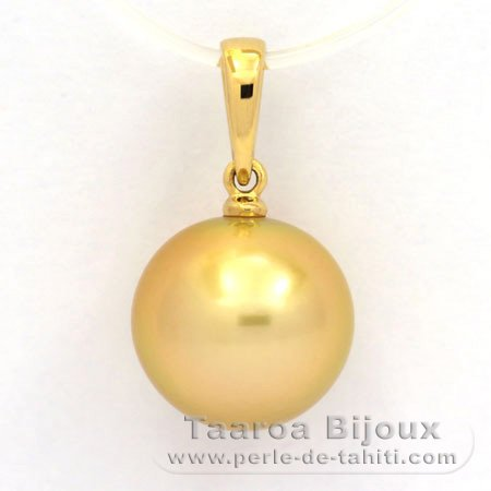 18K solid Gold Pendant and 1 Tahitian Australian Pearl Round B 11.5 mm