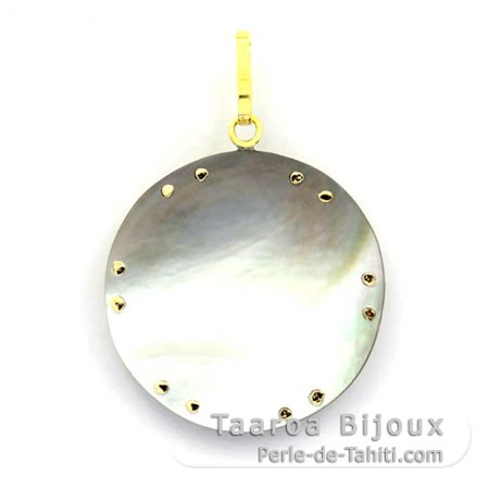 18K Gold and Tahitian Mother-of-Pearl Pendant - Diameter = 27 mm - Manta Ray