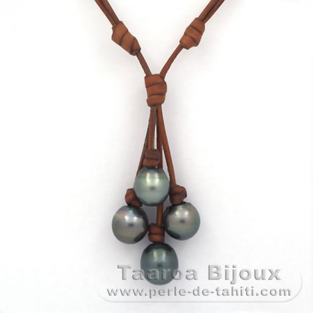 Leather Necklace and 4 Tahitian Pearls Semi-Baroque C from 12.6 to 13.7 mm