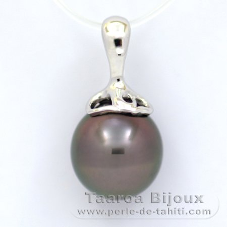Rhodiated Sterling Silver Pendant and 1 Tahitian Pearl Semi-Baroque C 11 mm