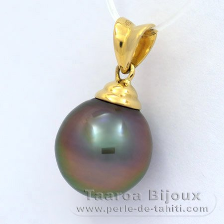 18K solid Gold Pendant and 1 Tahitian Pearl Semi-Baroque B 10.9 mm