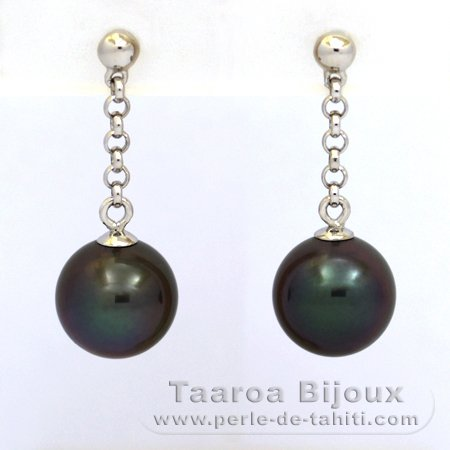Rhodiated Sterling Silver Earrings and 2 Tahitian Pearls Round C 9.1 mm