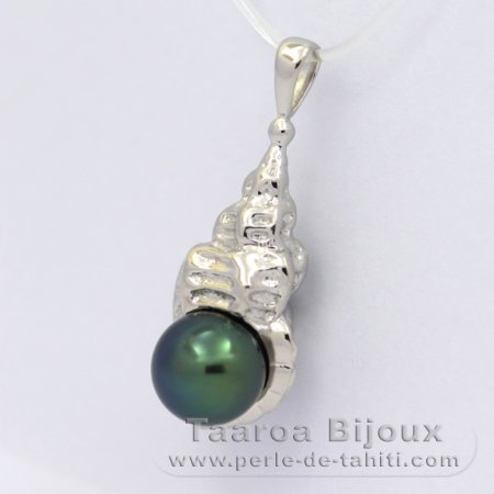 .925 Solid Silver Pendant and 1 tahitian Pearl Semi-Baroque B 8.9 mm