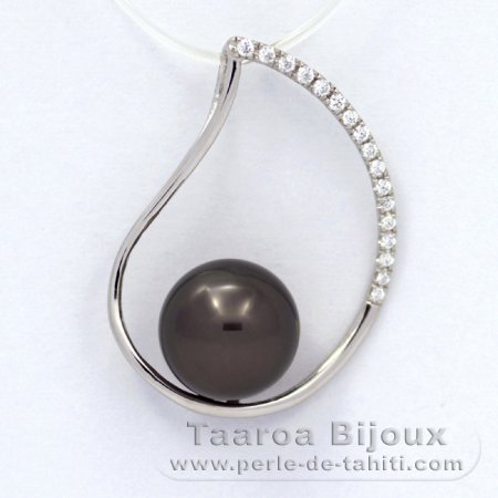 Rhodiated Sterling Silver Pendant and 1 Tahitian Pearl Semi-Round B 9.3 mm