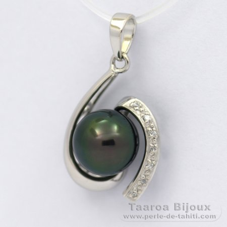 Rhodiated Sterling Silver Pendant and 1 Tahitian Pearl Semi-Round C 9.1 mm