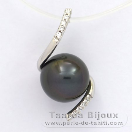 Rhodiated Sterling Silver Pendant and 1 Tahitian Pearl Semi-Round C 9.2 mm