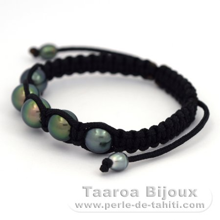 Nylon Bracelet, 5 Tahitian Pearls Round C from 9 to 9.4 mm and 2 Keishis
