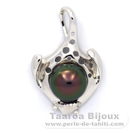 Rhodiated Sterling Silver Pendant and 1 Tahitian Pearl Semi-Baroque C+ 12.6 mm