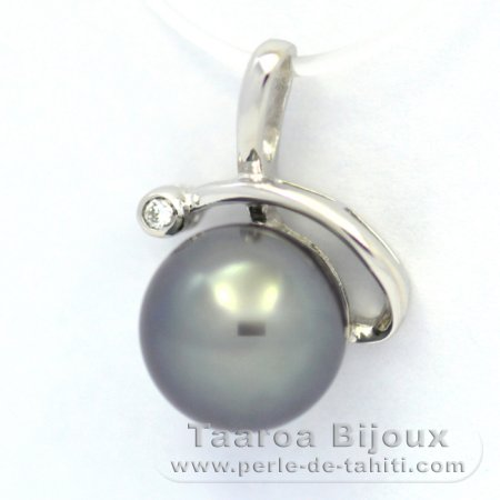 Rhodiated Sterling Silver Pendant and 1 Tahitian Pearl Semi-Round C 9.6 mm