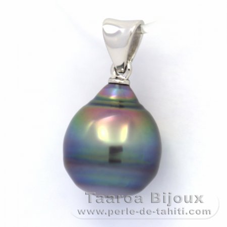 Rhodiated Sterling Silver Pendant and 1 Tahitian Pearl Ringed C 10.2 mm