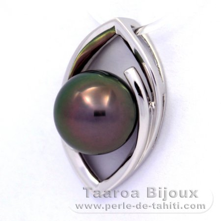 Rhodiated Sterling Silver Pendant and 1 Tahitian Pearl Round C 9.8 mm