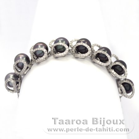 Rhodiated Sterling Silver Bracelet and 8 Tahitian Pearls Semi-Round C from 9 to 9.3 mm