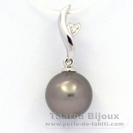 Rhodiated Sterling Silver Pendant and 1 Tahitian Pearl Round C (A+) 9.8 mm