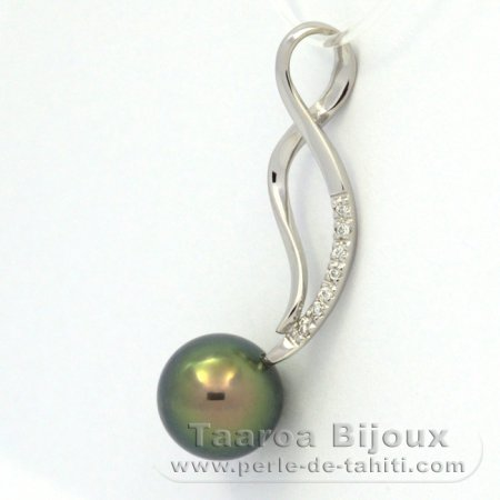 Rhodiated Sterling Silver Pendant and 1 Tahitian Pearl Round C+ 9.4 mm