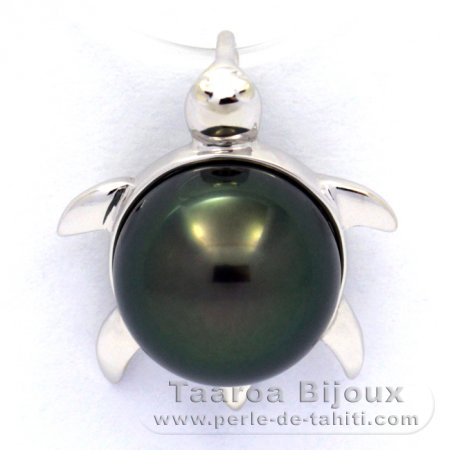 18K Solid White Gold Pendant and 1 Tahitian Pearl Round B 9.5 mm