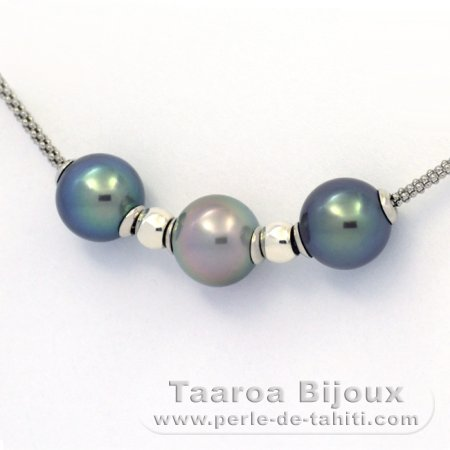 Rhodiated Sterling Silver Necklace and 3 Tahitian Pearls Round C+ from 10.2 to 10.4 mm