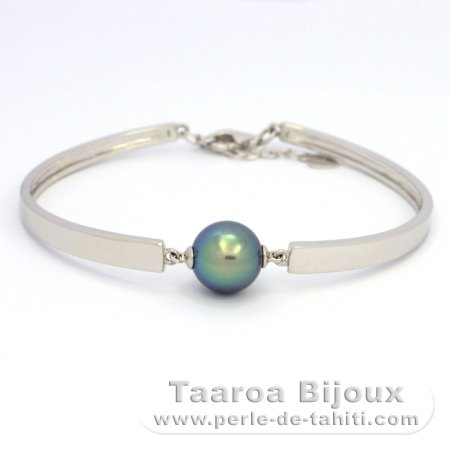 Rhodiated Sterling Silver Bracelet and 1 Tahitian Pearl Round C+ 10.6 mm