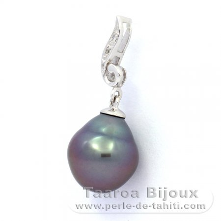 Rhodiated Sterling Silver Pendant and 1 Tahitian Pearl Semi-Baroque B 10.2 mm