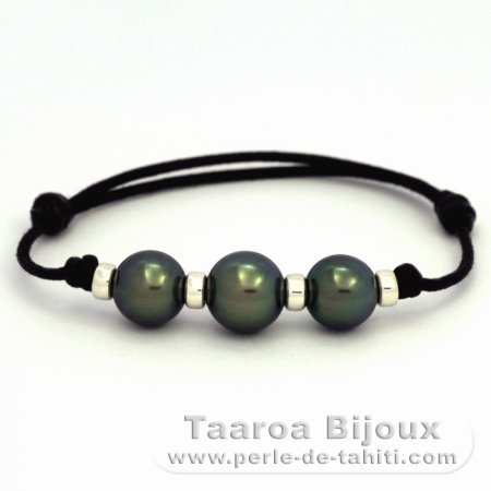 Waxed Cotton Bracelet and 3 tahitian Pearls Round C from 10 to 10.9 mm
