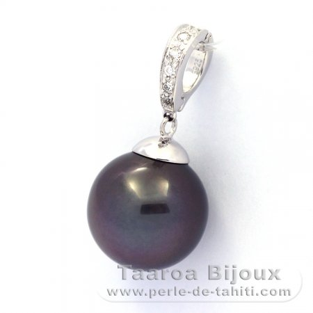 .925 Solid Silver Pendant and 1 Tahitian Pearl Near-Round C 14.5 mm