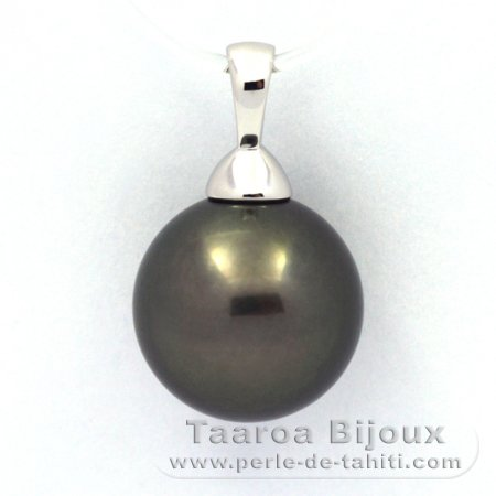 Rhodiated Sterling Silver Pendant and 1 Tahitian Pearl Round C 12.2 mm