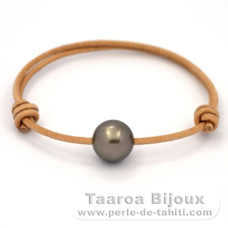 Leather Bracelet and 1 Tahitian Pearl Round C 12.6 mm