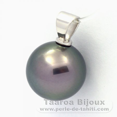 Rhodiated Sterling Silver Pendant and 1 Tahitian Pearl Round C 13.6 mm