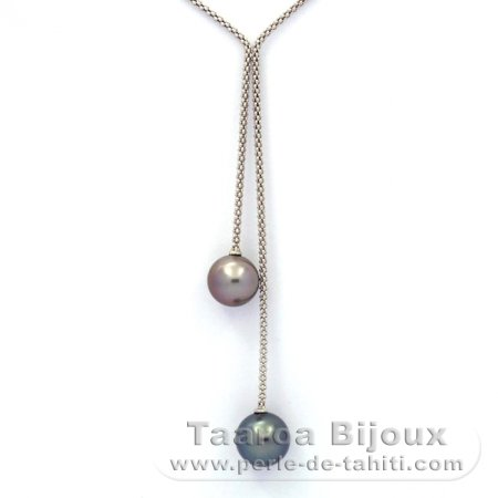 Rhodiated Sterling Silver Necklace and 2 Tahitian Pearls Round C 10.9 and 11.5 mm