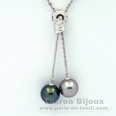 .925 Solid Silver Necklace and 2 Tahitian Pearls Round C+ 11.5 and 11.6 mm