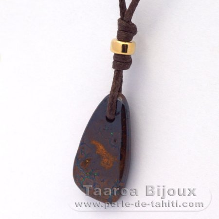 Waxed cotton Necklace and 1 Boulder Australian Opal - 11 carats
