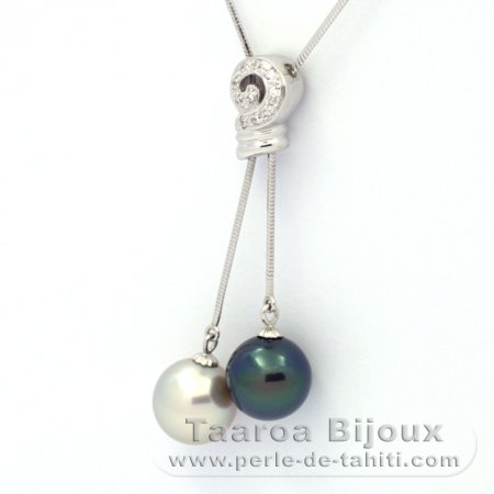.925 Solid Silver Necklace and 2 Tahitian Pearls Round C+ 10.8 and 10.9 mm
