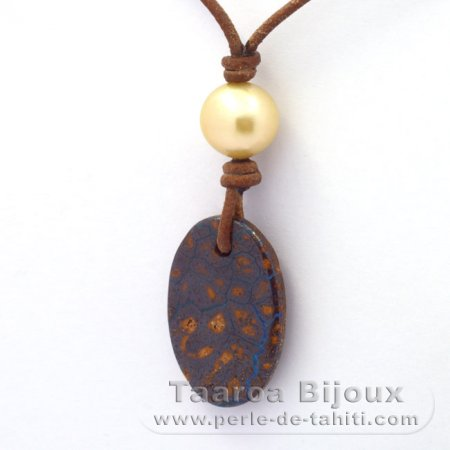 Leather Necklace, 1 Opal and 1 Pearl from Australia