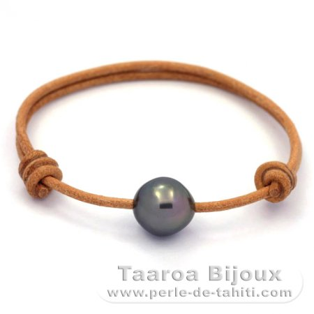 Leather Bracelet and 1 tahitian Pearl Semi-Baroque C 11.7 mm