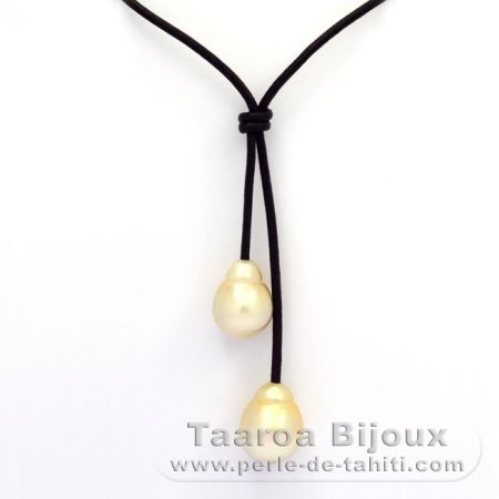 Leather Necklace and 2 Australian Pearls Semi-Baroque C 13.8 and 14.6 mm