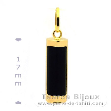 18K Gold Pendant and Black Agate - 17 mm - Health