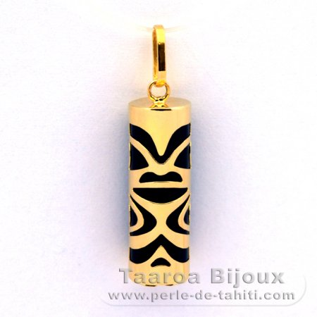 18K Gold Pendant and Black Agate - 21 mm - Chance