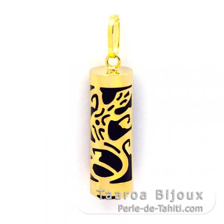 18K Gold Pendant and Black Agate - 21 mm - Gecko